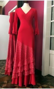 Red Devouré Long-Skirt 4 Ruffles