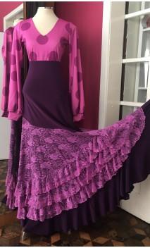 Polka-dots Top & Purple Long-Skirt 4 Ruffles w/Lilac Lace Set