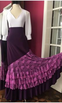 Purple Long-Skirt 4 Ruffles w/Lilac Lace w/Printed Shawl Set