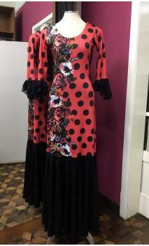 Vestido Rojo c/Flores y Lunares c/Encaje Negro