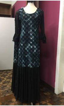 Blue c/Black Flowers Long Dress w/ Black Lace