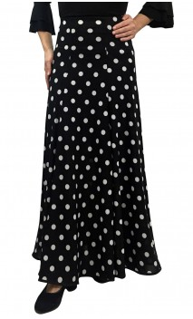Black w/white polka-dots Godet Long-Skirt