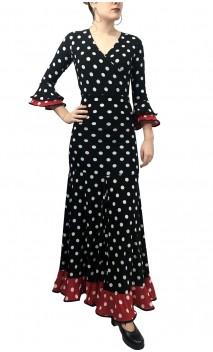 Polka-dots Top & Extra Godet Long-Skirt Set