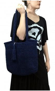 Hand-Made Navy Blue Crochet Bag