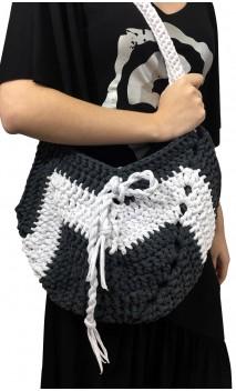 Bolsa de Crochet Cinza c/Branco