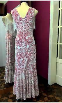 White Lace Long-Dress w/Fringe w/Red Lining