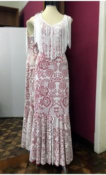 Vestido Renda Branca com Franja e Forro Vermelho