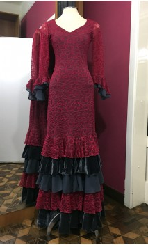 Pink & Grey Lace Long-Dress 5 Ruffles