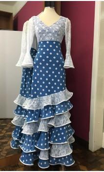 Blue w/White Polka-dots Skirt & Top Set