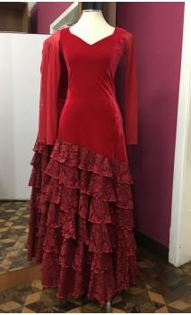 Red Velvet Long-Dress 5 Ruffles