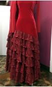 Vestido Vermelho de Veludo 5 Babados