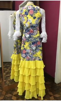 Yellow Floral Vest & Long-skirt w/5 Chiffon Ruffles Set