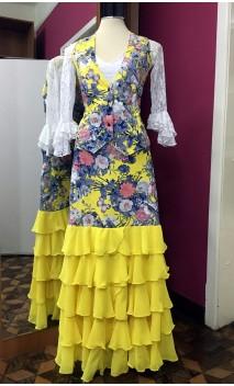 Conjunto de Chaleco y Falda Amarillo Floral c/5 Volantes Chiffon