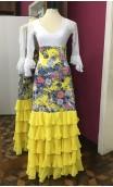 Conjunto de Colete e Saia Estampada Amarelo Floral c/Babados Chiffon