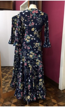 Floral Blue Top & Extra Godet Long-Skirt Set