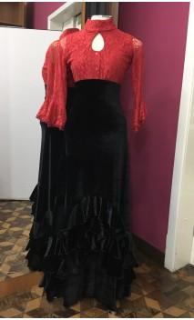 Falda Mabel Terciopelo c/ Volantes