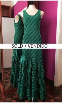 Striped Green Long-Dress 6 Ruffles