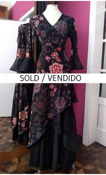 Floral Black Skirt & Blouse Set w/Lace