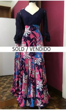 Floral Rose & Blue Long-Skirt Extra Godet