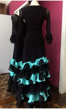 Light Green w/Polka-dots Long Skirt 6 Ruffles w/Lace