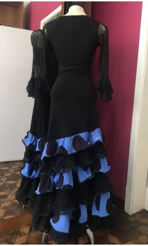 Blue w/Polka-dots Long Skirt 6 Ruffles w/Lace
