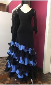 Falda Azul c/Lunares 6 Volantes c/Encajes