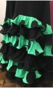 Falda Verde c/Lunares 6 Volantes c/Encajes