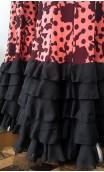 Falda Salmón c/Flores Negras 5 Volantes