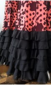 Salmon w/Black Flowers Long-Skirt 5 Ruffles