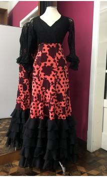 Salmon w/Black Flowers Long-Skirt 5 Ruffles