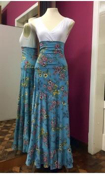 Floral Light Blue Godet Long-Skirt