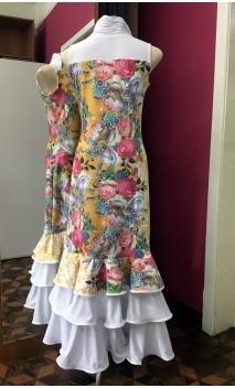 Yellow Floral Long-Dress 3 Ruffles