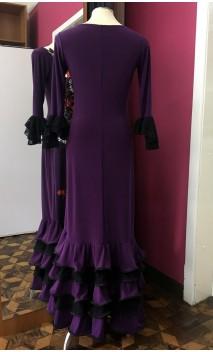 Purple Long-Dress 5 Ruffles w/Lace
