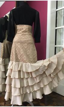 Beige Long-skirt 5 Ruffles w/Lace