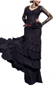 Candida Lace Long-Dress 5 Ruffles