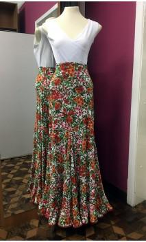 Falda Blanco Floral Extra Godet