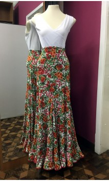 Floral White Long-Skirt Extra Godet