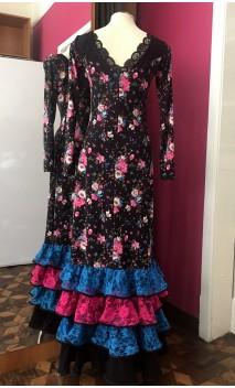 Black Floral Long-Dress 4 Ruffles w/Lace
