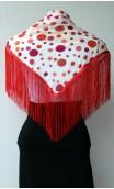 White,Orange & Red Shawl, Earring & Flower Set