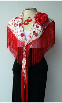 White,Orange & Red Shawl, Earring & Flower Set
