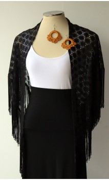 Black Shawl & Gold Earring Set