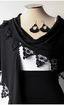 Black Shawl & Earring Set