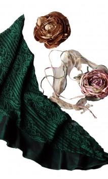 Conjunto de Lenço de Renda Verde, Flor de Cetim e Aplique de Flor c/Renda