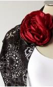 Black & Red Scarf, Earring & Flower Set