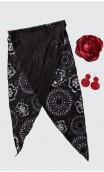 Conjunto Negro y Rojo de Pañuelo, Pendientes y Flor