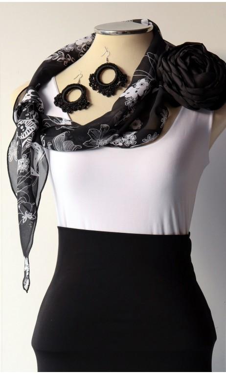 Black & White Scarf, Earring & Flower Set