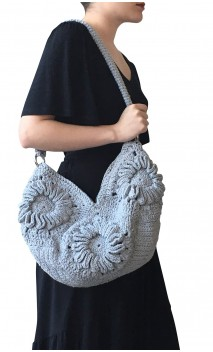 Grey Crochet Bag