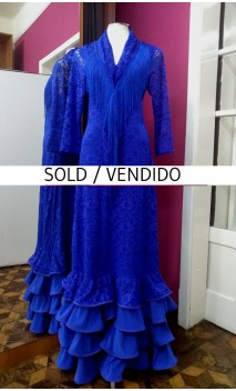 Royal Blue Lace Long-Dress 4 Ruffles w/Scarf