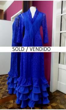 Vestido de Renda Azul Royal 4 Babados c/Xale