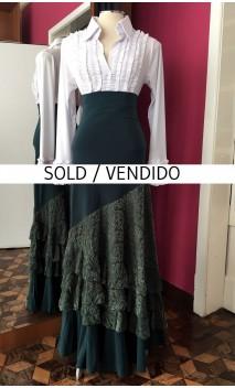 Green Devouré Long-Skirt 4 Ruffles